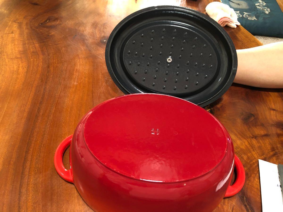 ツヴィリング 鋳物 ホーロー鍋 両手鍋 ココット 29cm  レッド