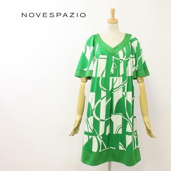 美品◆NOVESPAZIO/ノーベスパジオ 総柄 ワンピース グリーン 38_画像1
