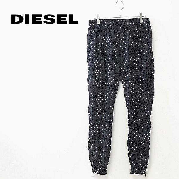 ◆DIESEL/ディーゼル 裾ジップ 総柄 ポリエステル ジョガー イージー パンツ ブラック×ホワイト M_画像1