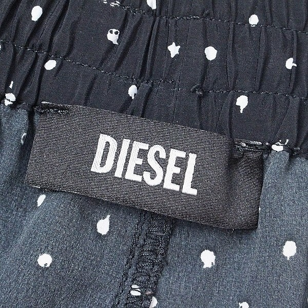 ◆DIESEL/ディーゼル 裾ジップ 総柄 ポリエステル ジョガー イージー パンツ ブラック×ホワイト M_画像4