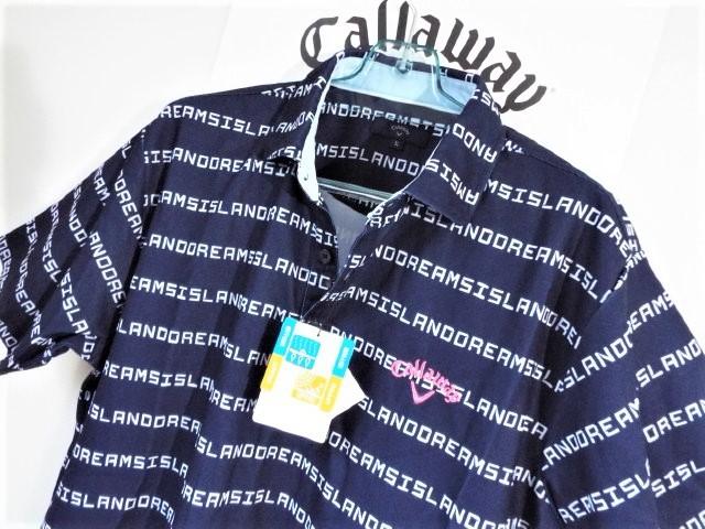 ☆新品☆Callaway キャロウェイ / サイズ3L / ISLAND DREAMS 文字ボーダー プルオーバーシャツ DRY・UV _画像4