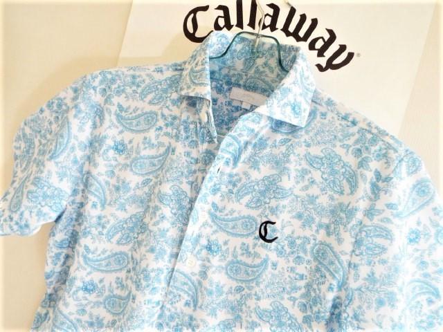 ★超美品★Callaway キャロウェイ / ペーズリー総柄 プルオーバーシャツ DRY / サイズM _画像1