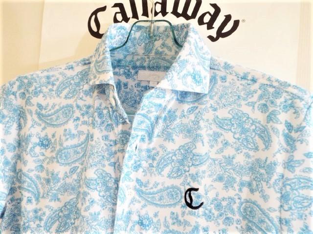 ★超美品★Callaway キャロウェイ / ペーズリー総柄 プルオーバーシャツ DRY / サイズM _画像4