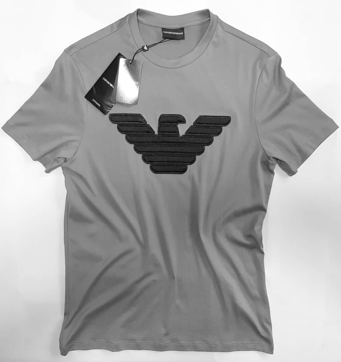 [新品] EMPORIO ARMANI 立体ビッグイーグルの刺繍ロゴ入り【メンズ・半袖Tシャツ】◆202