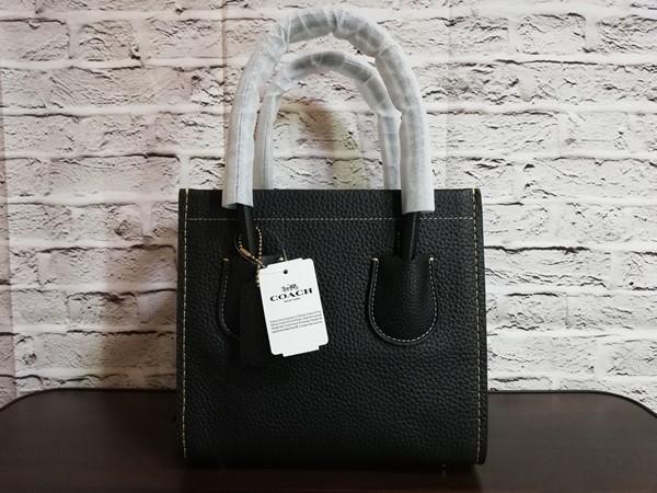 【未使用1円スタート】COACHコーチミニハンドバッグ737トートバッグ黒ブラックペブルレザー皮新品2wayショルダー小型小さいレディース女鞄