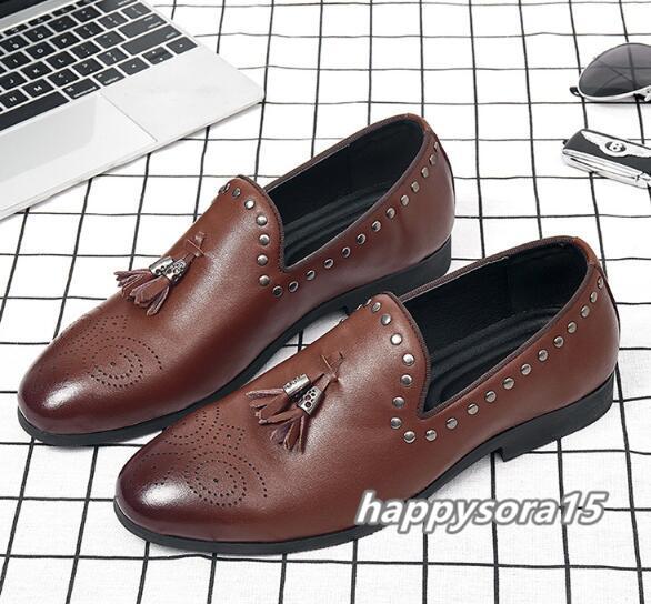 ローファー メンズ スリッポン タッセル ビジネスシューズ カジュアル ドライビングシューズ 紳士靴 ブラウン 24.5cm_画像1