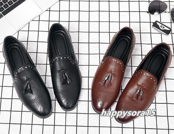 ローファー メンズ スリッポン タッセル ビジネスシューズ カジュアル ドライビングシューズ 紳士靴 ブラウン 25.5cm_画像7