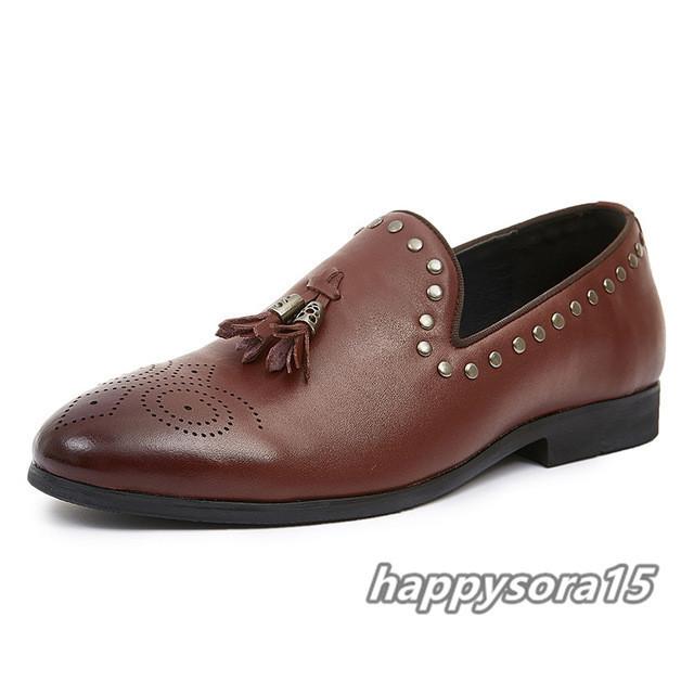 ローファー メンズ スリッポン タッセル ビジネスシューズ カジュアル ドライビングシューズ 紳士靴 ブラウン 24.5cm_画像2