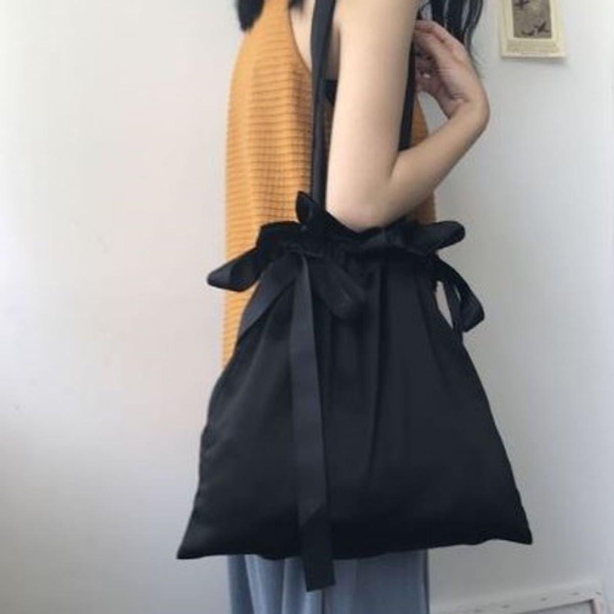 トートバッグ リボン 大容量 ブラック 通勤 通学 エコバッグ 巾着 サテン