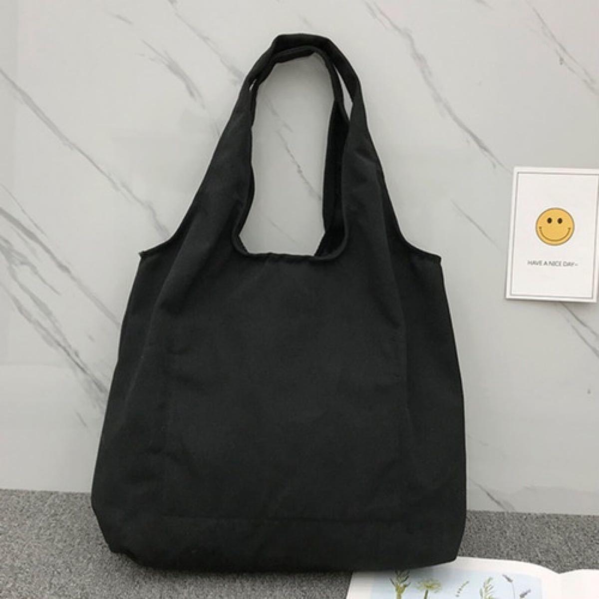 ロゴトートバッグ エコバッグ バッグ トートバッグ 韓国 通勤 通学 ブラック