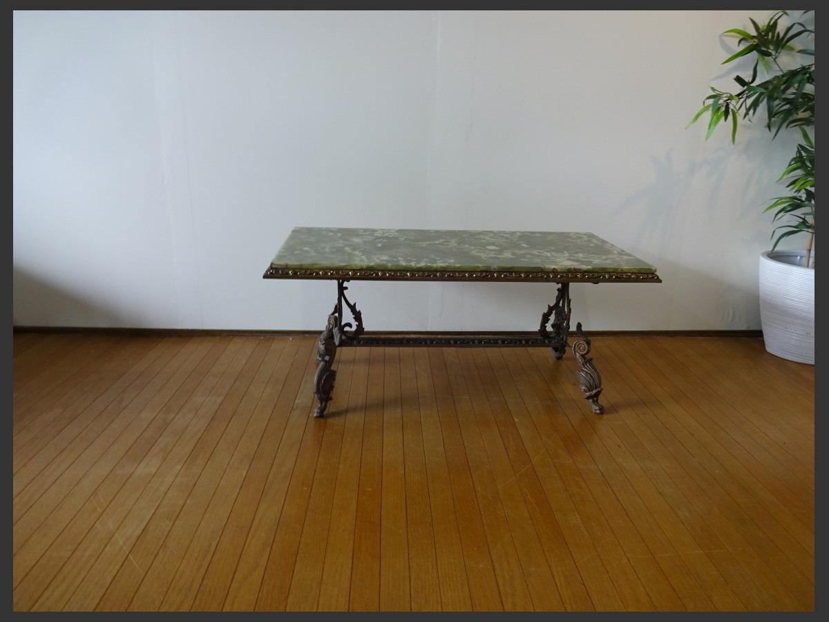 【osk030524】希少 グリーンオニキス イタリアンクラシックスタイル 大理石天板 真鍮 猫足 センターテーブル_画像1