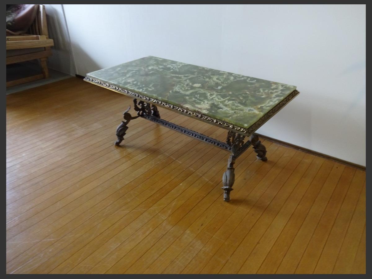 【osk030524】希少 グリーンオニキス イタリアンクラシックスタイル 大理石天板 真鍮 猫足 センターテーブル_画像3