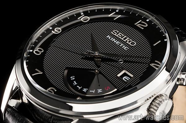【1円開始】逆輸入 セイコー 海外 世界特許 キネティック 本革 レトログラード ブラック&シルバー 裏スケ 新品 腕時計