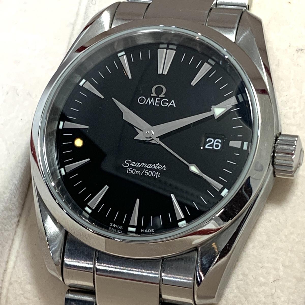 ☆1円~ オメガ omega シーマスター アクアテラ デイト 黒文字盤 2518.50 メンズ クオーツ 保証書 腕時計 CD27110102
