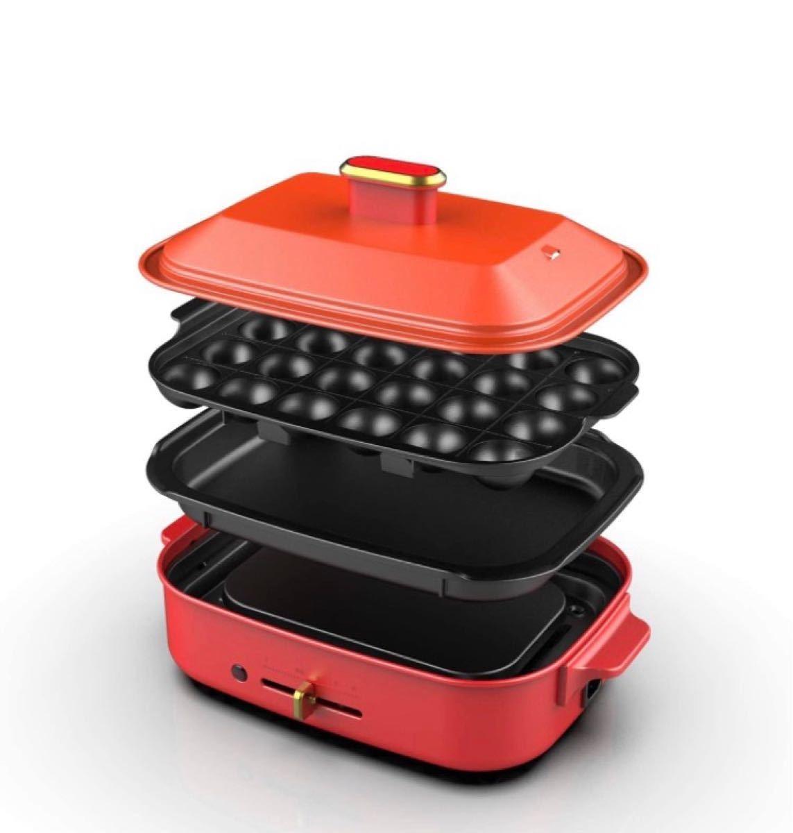 KEECOON ホットプレート 多機能 たこ焼きプレート 平面プレート 着脱式グリル鍋 無段階温度調節 レッド 赤