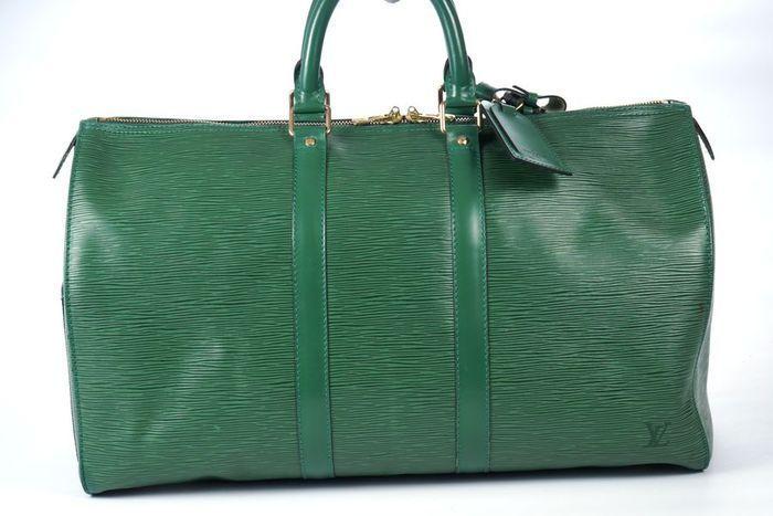 【極美品】ルイヴィトン Louis Vuitton エピ キーポル45 ボストンバッグ 旅行バッグ レザー グリーン メンズ 定価約24万 3808_画像10
