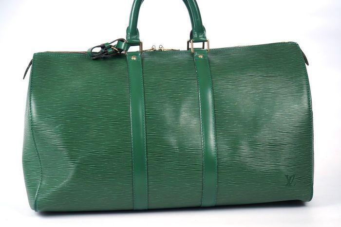 【極美品】ルイヴィトン Louis Vuitton エピ キーポル45 ボストンバッグ 旅行バッグ レザー グリーン メンズ 定価約24万 3808_画像9