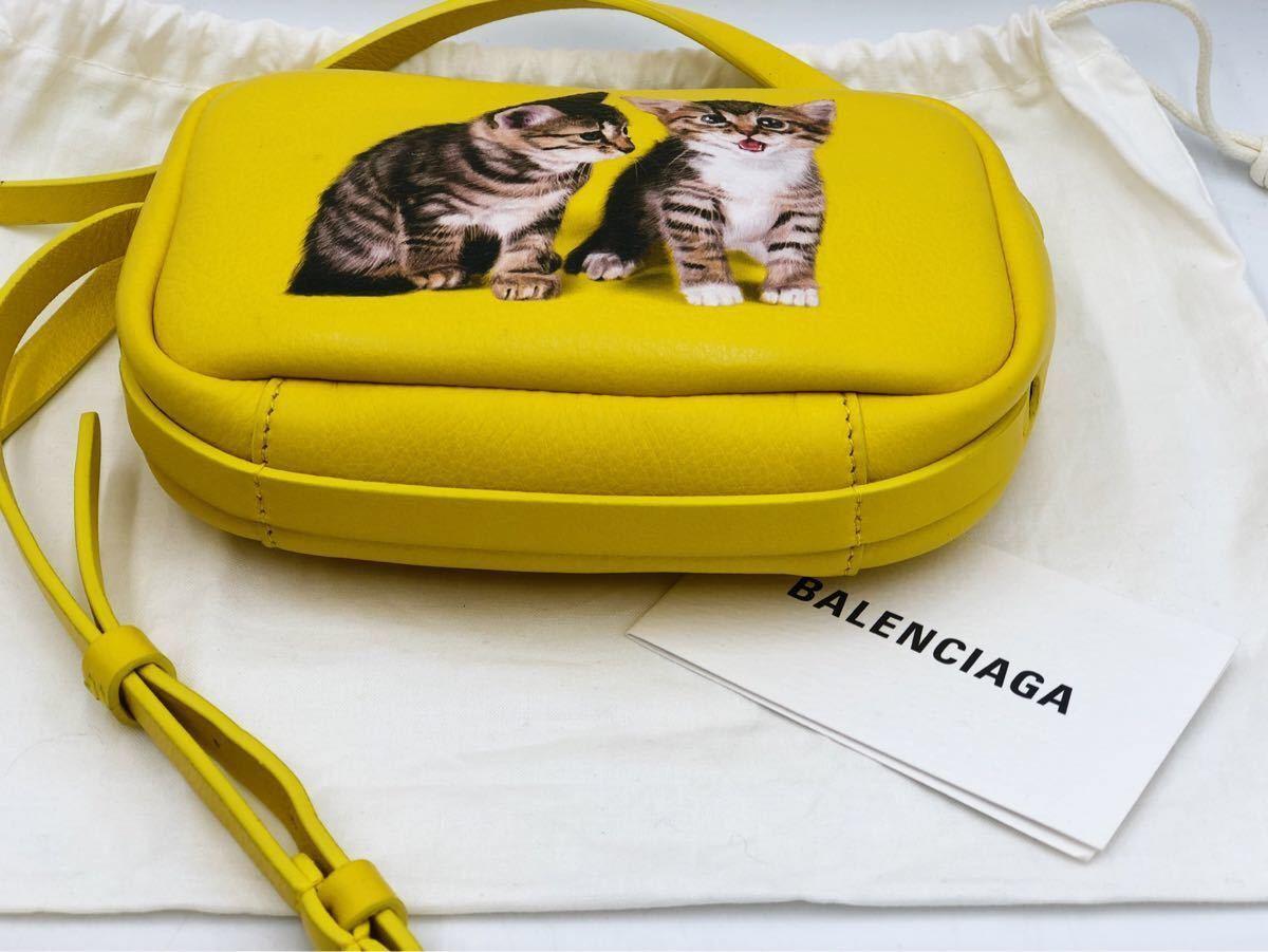 美品 BALENCIAGA バレンシアガ 可愛い ショルダーバッグ 斜め掛け EVERYDAY CAMERA BAG XS エブリデイカメラバッグ キャット 猫 イエロー _画像9