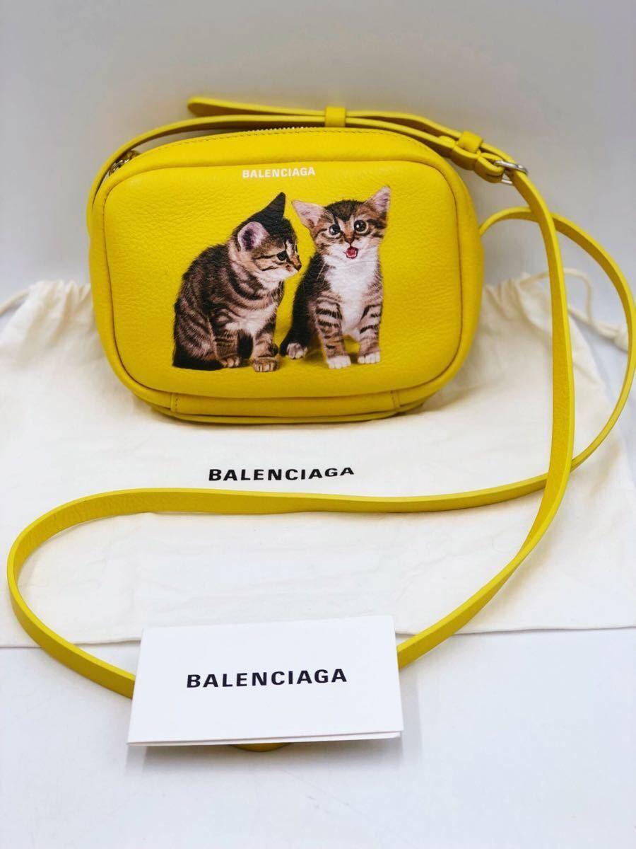 美品 BALENCIAGA バレンシアガ 可愛い ショルダーバッグ 斜め掛け EVERYDAY CAMERA BAG XS エブリデイカメラバッグ キャット 猫 イエロー _画像3