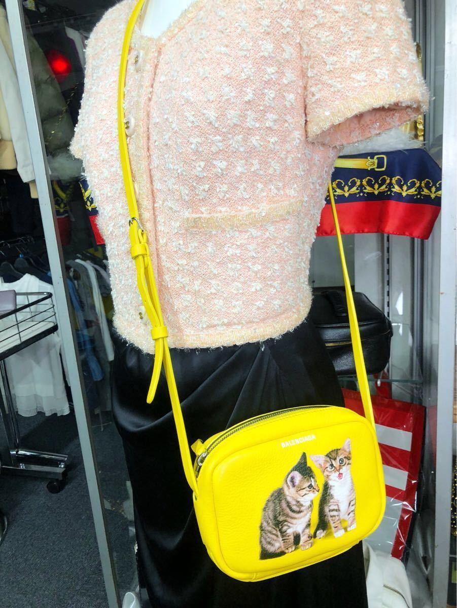 美品 BALENCIAGA バレンシアガ 可愛い ショルダーバッグ 斜め掛け EVERYDAY CAMERA BAG XS エブリデイカメラバッグ キャット 猫 イエロー _画像2