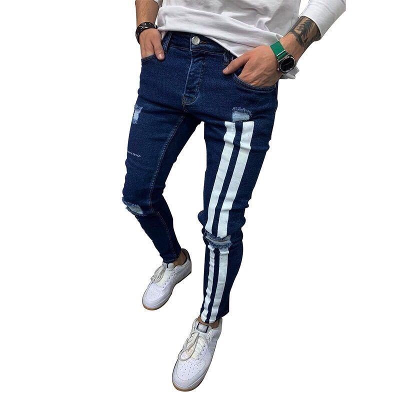 デニム ジョガーパンツ ラインパンツ テーパード ジーンズ スキニーパンツ ボトムス ストレッチ ストリート メンズ M パンツ ブルー 青