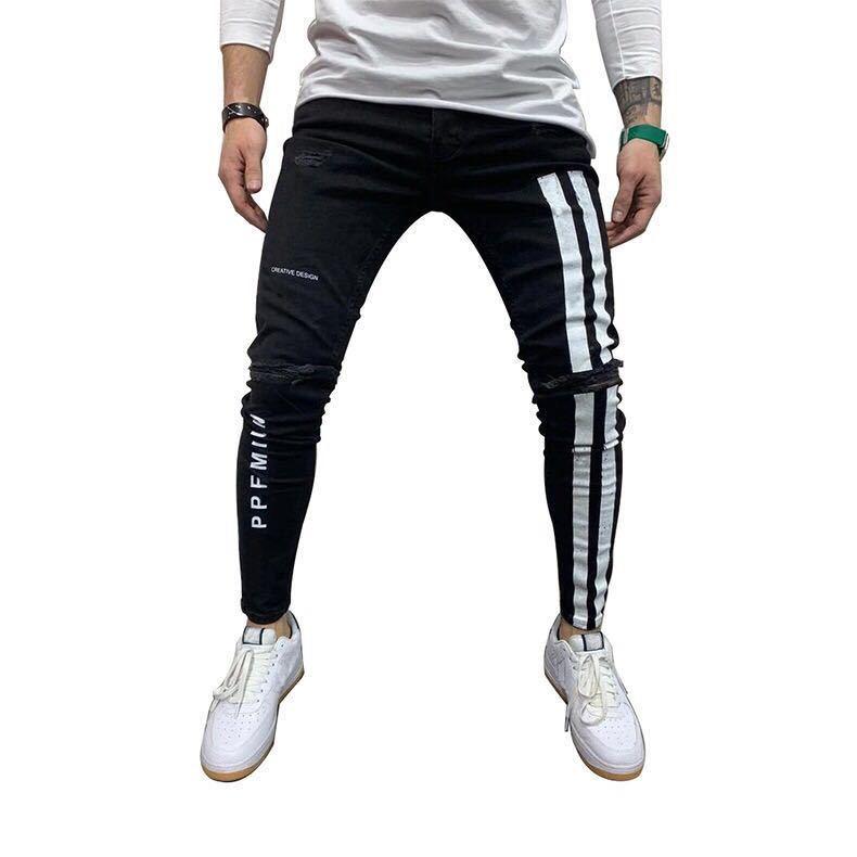 デニム ジョガーパンツ ラインパンツ テーパード ジーンズ スキニーパンツ ボトムス ストレッチ ストリート メンズ M パンツ ブラック 黒