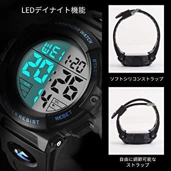 新品01.ブルー 腕時計 メンズ デジタル スポーツ 50メートル防水 おしゃれ 多機能 LED表示 アウトドア 腕NSLC_画像6