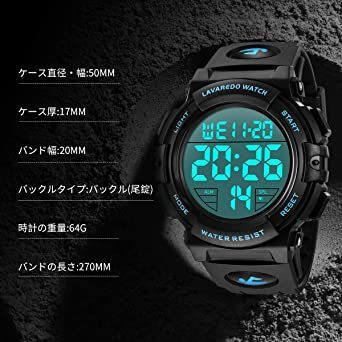 新品01.ブルー 腕時計 メンズ デジタル スポーツ 50メートル防水 おしゃれ 多機能 LED表示 アウトドア 腕NSLC_画像7