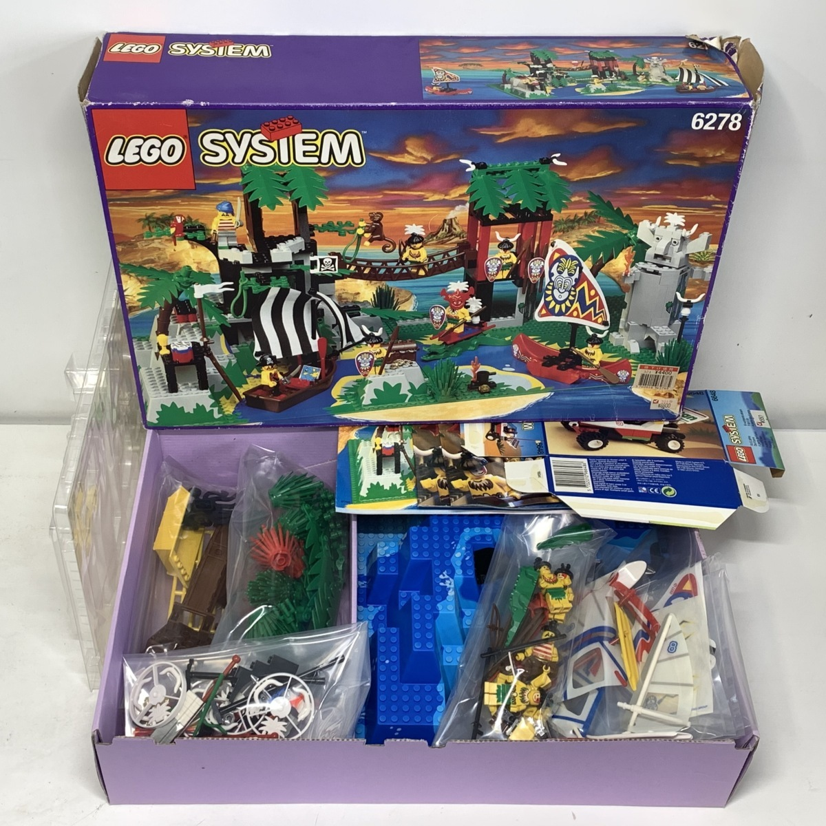 【ジャンク】LEGO レゴ 6278 オロンガ島<元箱 取説付き>南海の勇者 ロンゴ族◆6195 アクアノーツ海底基地 ベースプレート □