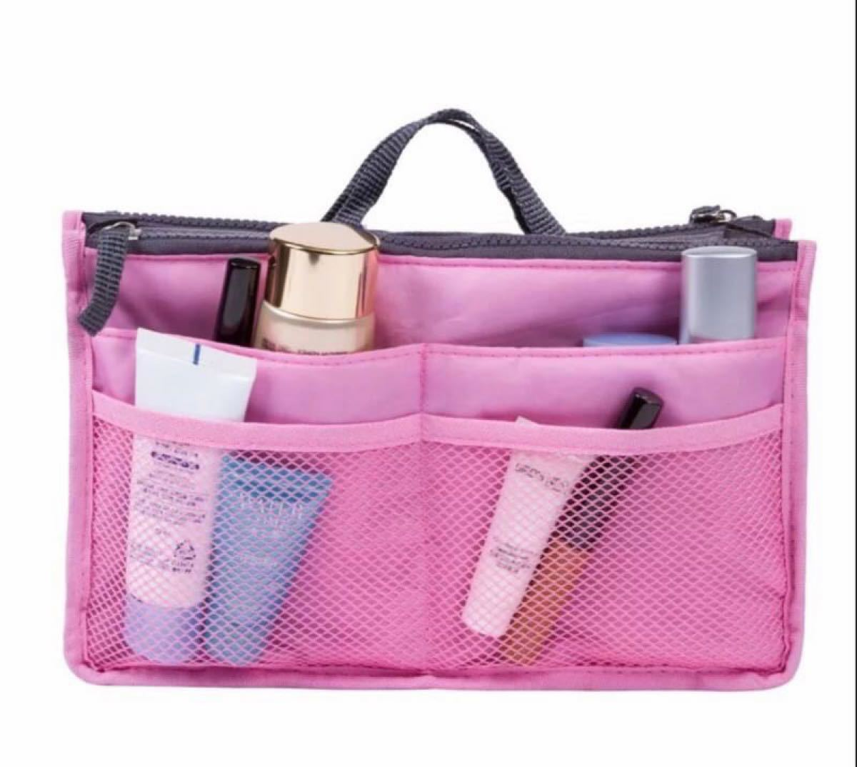 バッグインバッグ  ピンク 小分け収納 大容量 トート用 インナーバッグ バッグインバッグ 化粧ポーチ インナーバッグ 旅行ポーチ