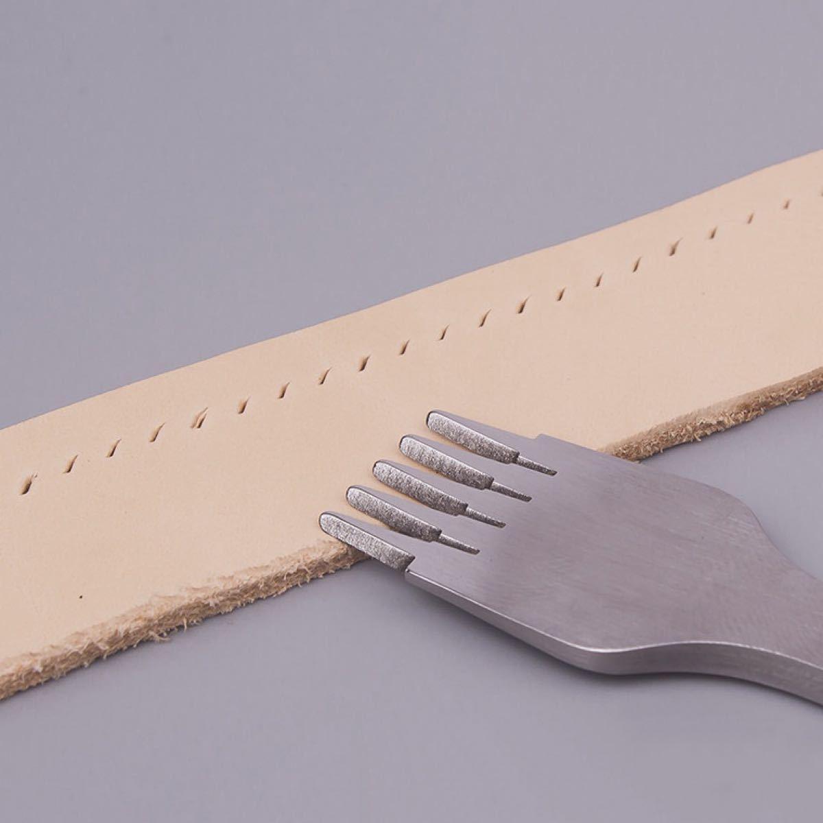 レザークラフト ピッチ2.7mm3本セットヨーロッパ目打ちハイス鋼製 手芸ハンド目打ち 鋼材質 革用