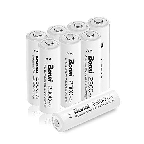 8個パック(高容量2300mAh 約1200回使用可能) BONAI 単3形 充電式電池 ニッケル水素電池 8個パック 自然放電_画像1
