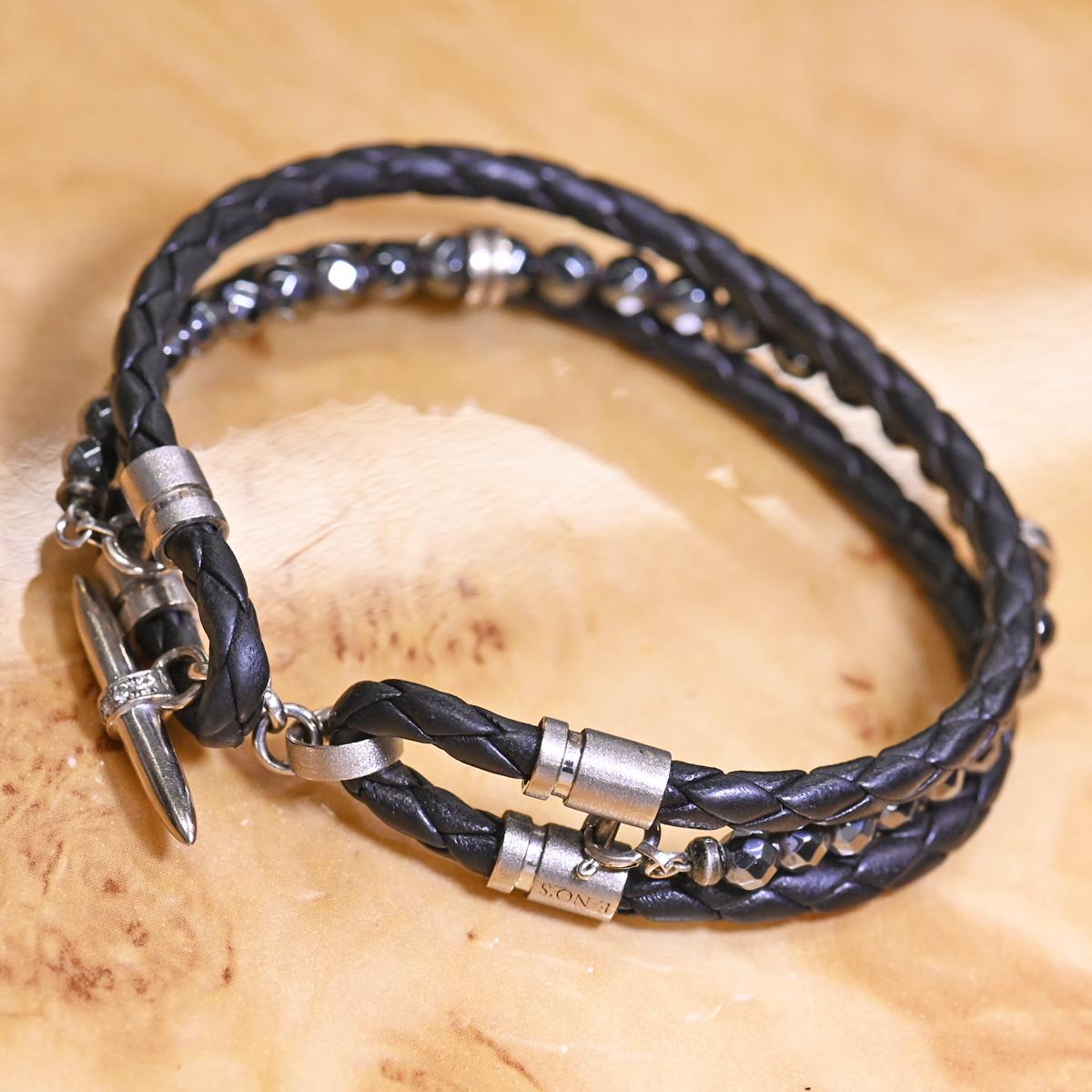 本物 美品 イーノス K18WG ダイヤモンド Felix イントレチャートレザー ヘマタイト ブレスレット 18.5cm メンズジュエリー E-NO'S_画像2