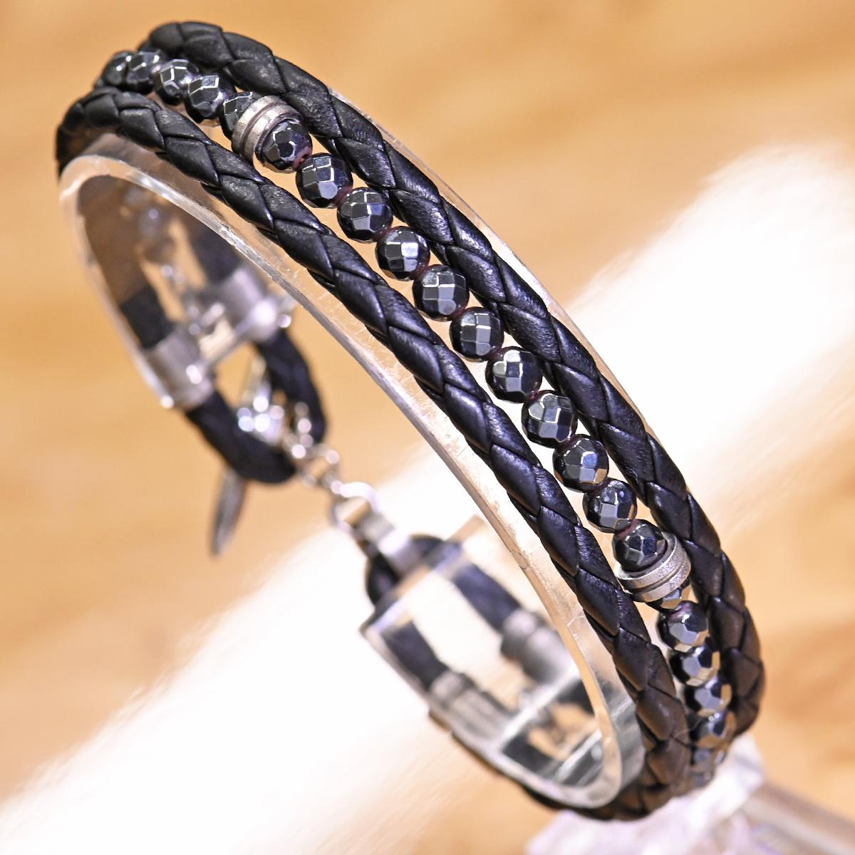 本物 美品 イーノス K18WG ダイヤモンド Felix イントレチャートレザー ヘマタイト ブレスレット 18.5cm メンズジュエリー E-NO'S_画像4