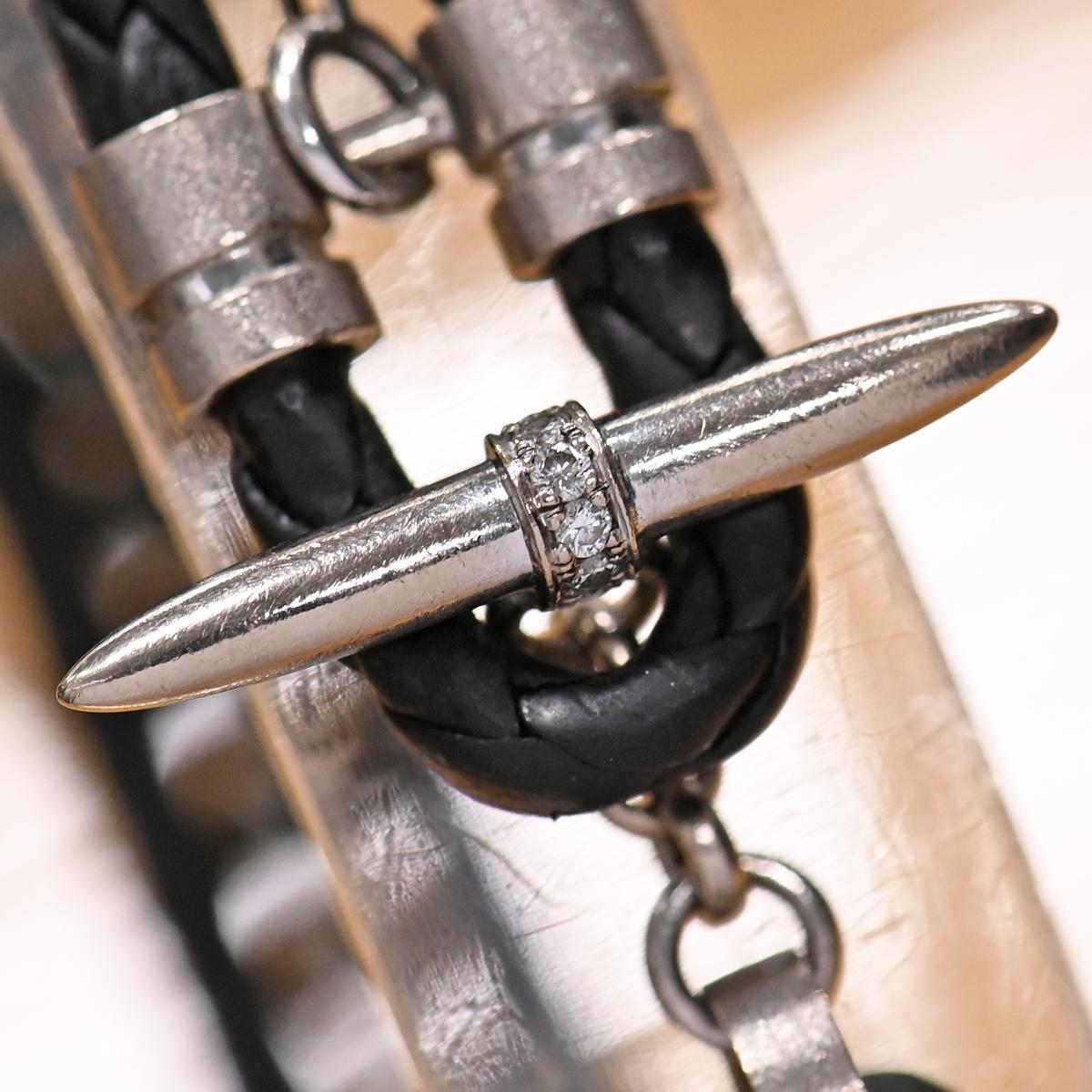本物 美品 イーノス K18WG ダイヤモンド Felix イントレチャートレザー ヘマタイト ブレスレット 18.5cm メンズジュエリー E-NO'S_画像3