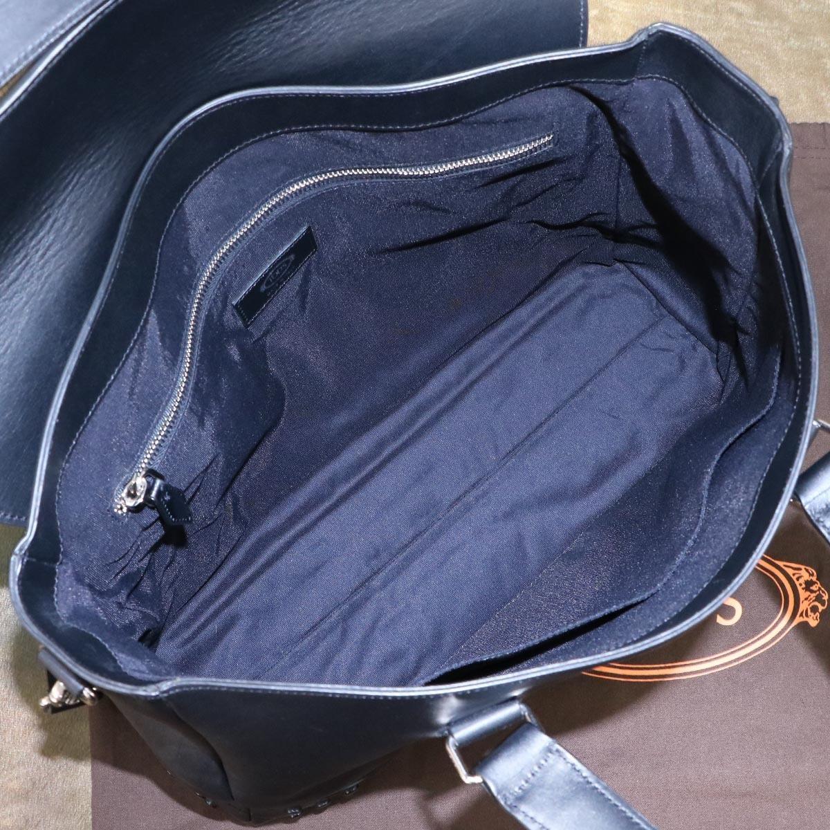 本物 新品同 トッズ 絶盤 メンズランウェイ限定 ゴンミーニ 2WAYメンズビジネスバッグ ブラック A4書類ブリーフケース トートバッグ TODS_画像8