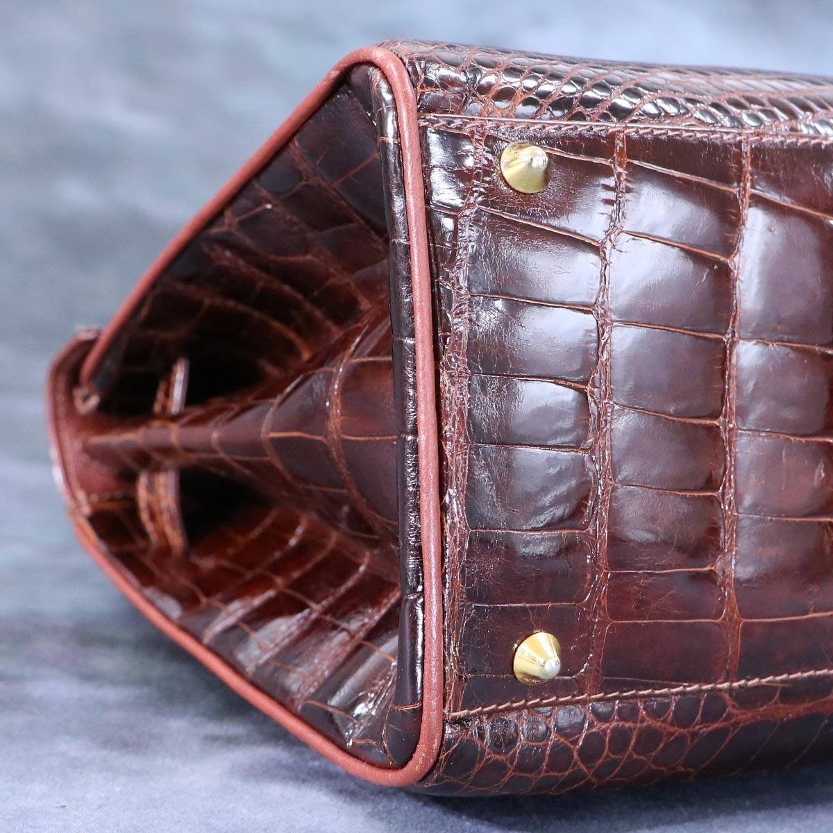 本物 超美品 最高級イタリア製 クロコダイルレザー 鍵付き ケリーバッグ ハンドバッグ 総ワニ革 クロコレザー トートバッグ_画像7