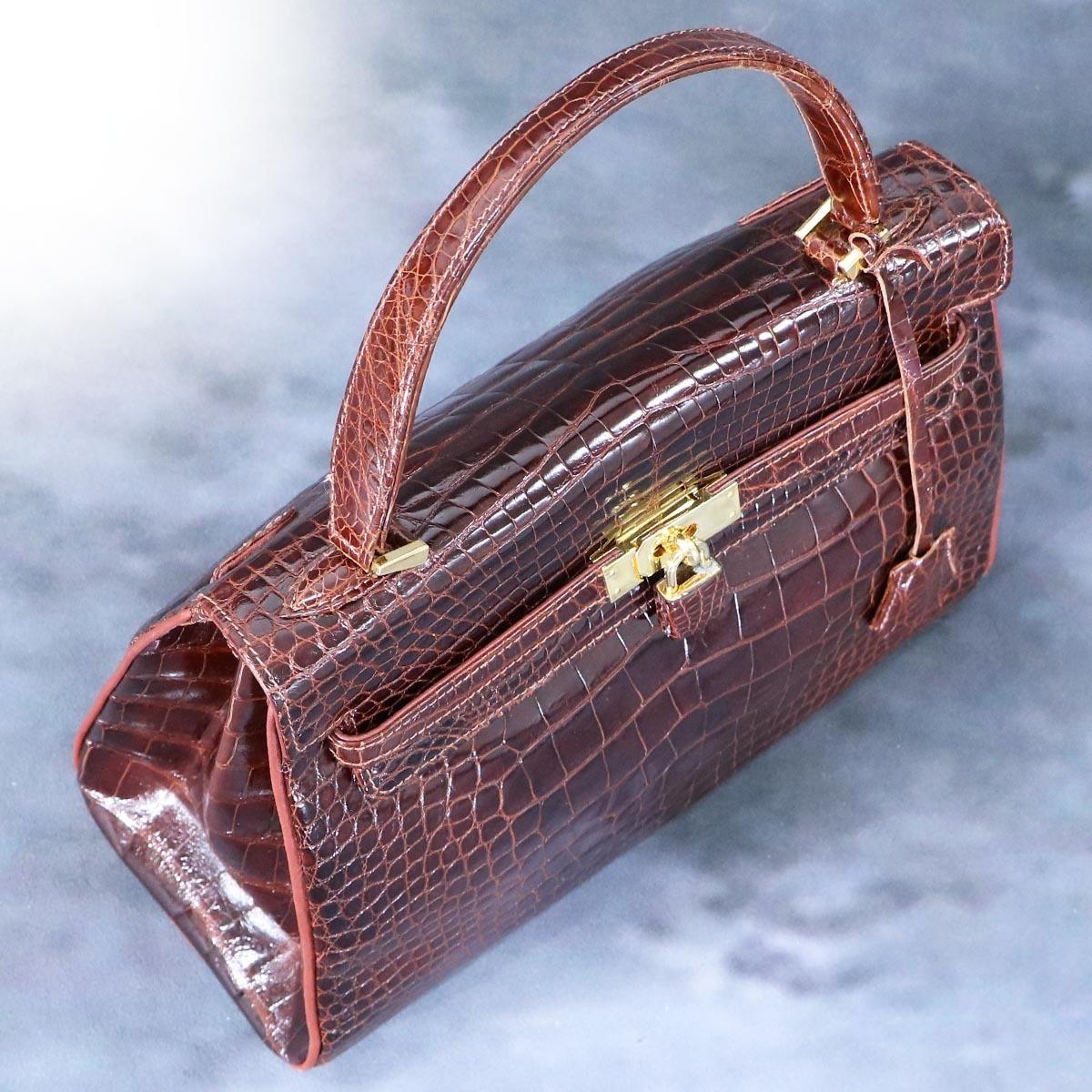 本物 超美品 最高級イタリア製 クロコダイルレザー 鍵付き ケリーバッグ ハンドバッグ 総ワニ革 クロコレザー トートバッグ_画像3