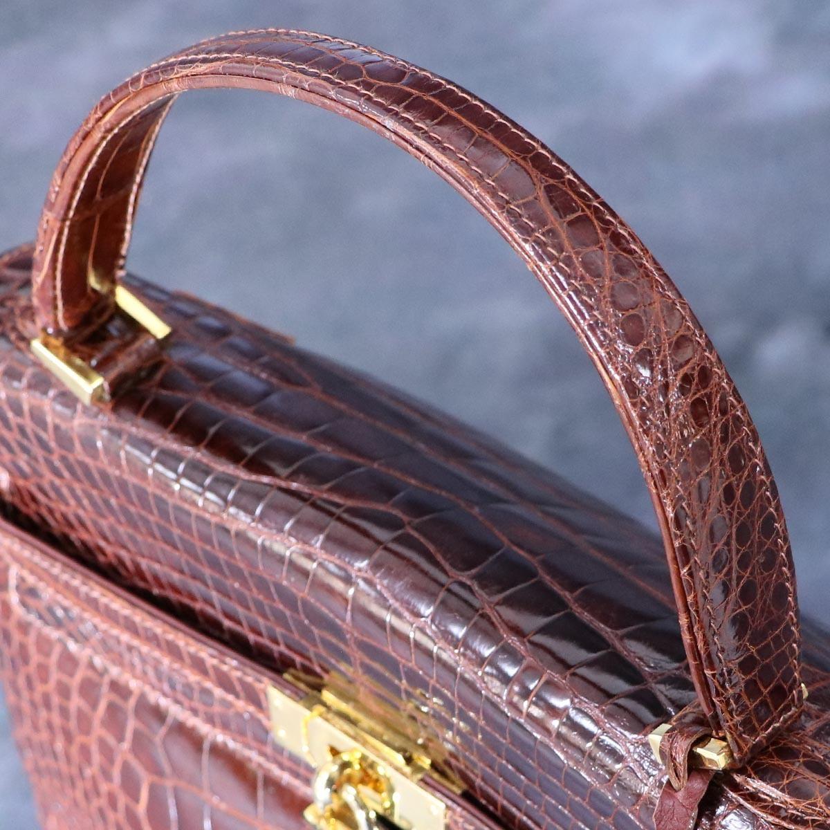 本物 超美品 最高級イタリア製 クロコダイルレザー 鍵付き ケリーバッグ ハンドバッグ 総ワニ革 クロコレザー トートバッグ_画像5