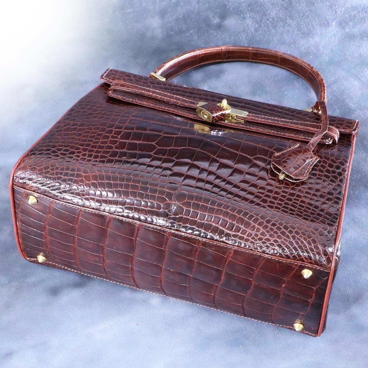 本物 超美品 最高級イタリア製 クロコダイルレザー 鍵付き ケリーバッグ ハンドバッグ 総ワニ革 クロコレザー トートバッグ_画像4