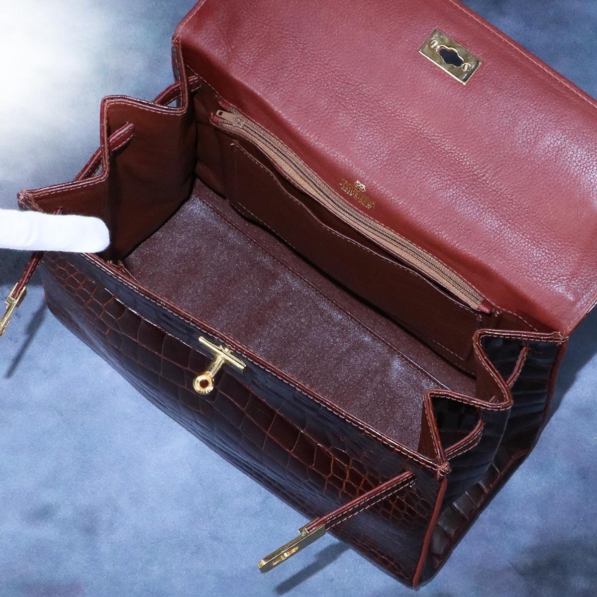 本物 超美品 最高級イタリア製 クロコダイルレザー 鍵付き ケリーバッグ ハンドバッグ 総ワニ革 クロコレザー トートバッグ_画像8