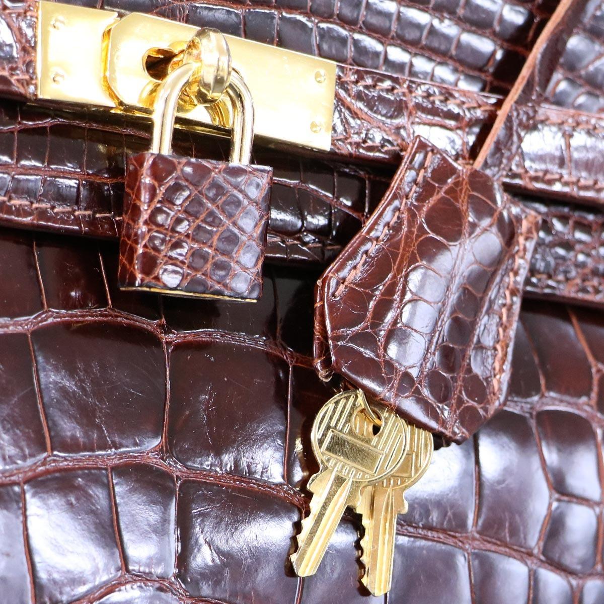 本物 超美品 最高級イタリア製 クロコダイルレザー 鍵付き ケリーバッグ ハンドバッグ 総ワニ革 クロコレザー トートバッグ_画像6