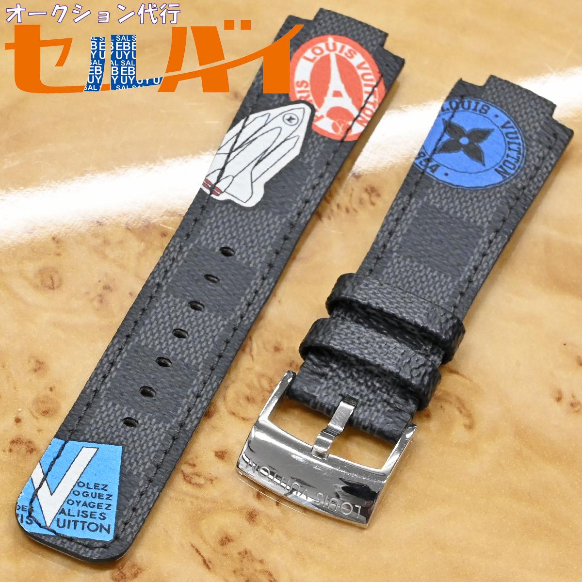 本物 超美品 ルイヴィトン 新型ワンタッチ リムーバブル ダミエ グラフィット ワールドツアー メンズ タンブール 腕時計 ウォッチベルト_画像1