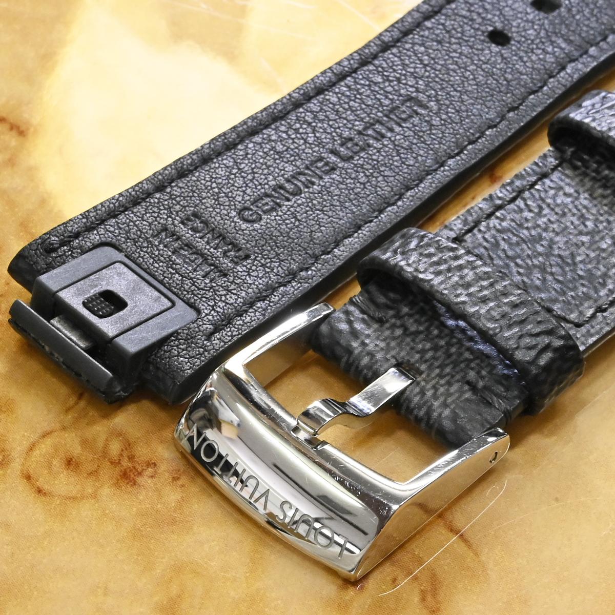 本物 超美品 ルイヴィトン 新型ワンタッチ リムーバブル ダミエ グラフィット ワールドツアー メンズ タンブール 腕時計 ウォッチベルト_画像3