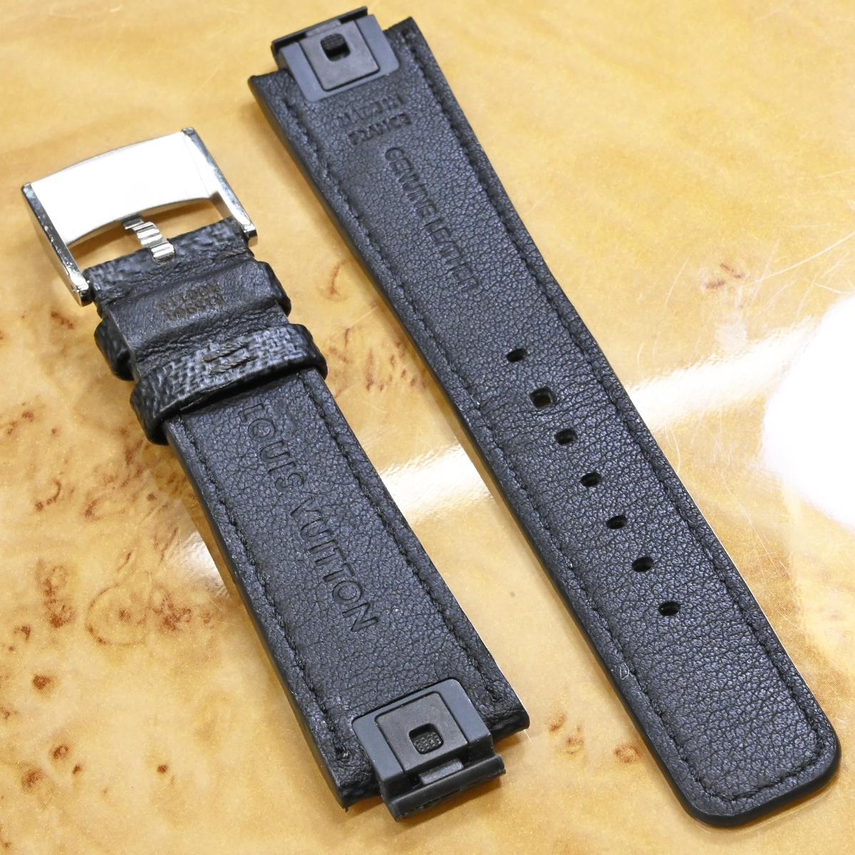 本物 超美品 ルイヴィトン 新型ワンタッチ リムーバブル ダミエ グラフィット ワールドツアー メンズ タンブール 腕時計 ウォッチベルト_画像4