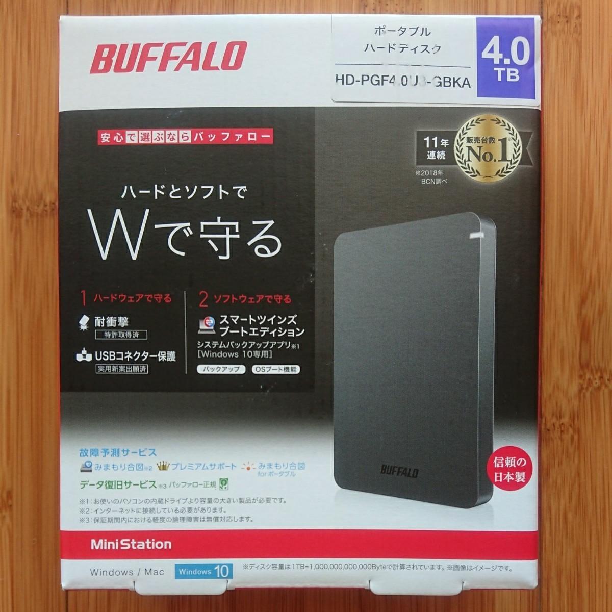 BUFFALO ポータブルHDD 4TB HD-PGF4.0U3-GBKA