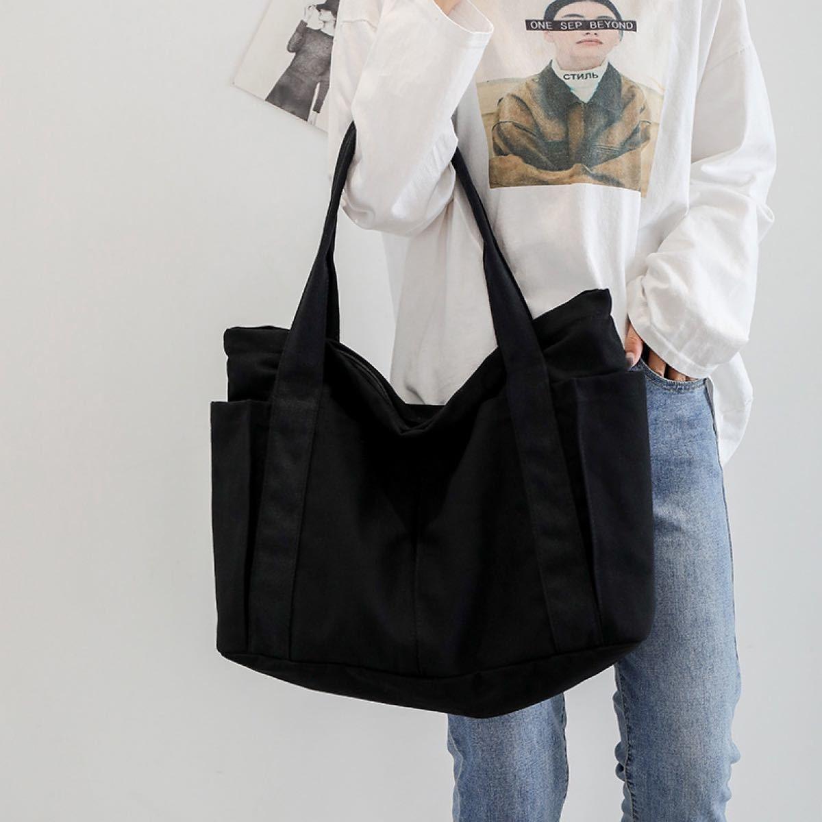 キャンバスバッグ  トートバッグ 大容量 マザーズバッグ 帆布 シンプル