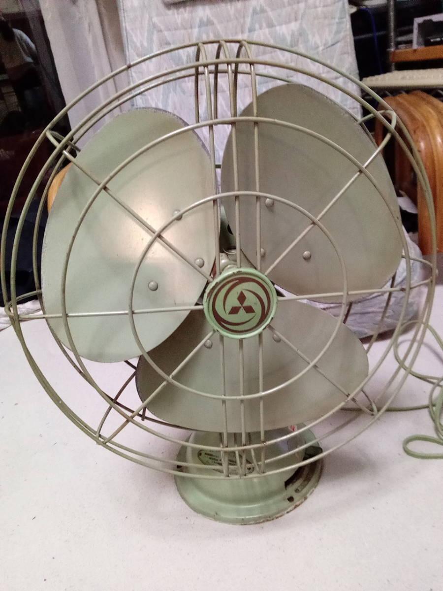 風量・首振り動作品 扇風機 三菱 エレクトリックファン 3枚羽 昭和レトロ インテリア アンティーク _画像1