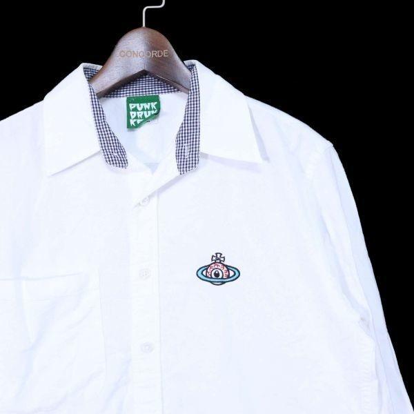 PUNK DRUNKERS パンクドランカーズ 通年 刺繍 長袖 シャツ Sz.M メンズ 日本製 白 E1T01042_4#C_画像2