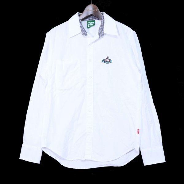 PUNK DRUNKERS パンクドランカーズ 通年 刺繍 長袖 シャツ Sz.M メンズ 日本製 白 E1T01042_4#C_画像1